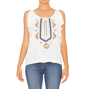 Women's  Aztec Embroidered Ruffle Top