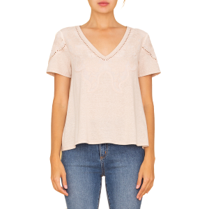 Women's  Embroidered Sleeve V-Neck Top