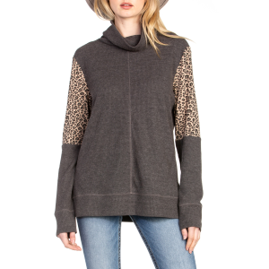 Women's  Knit Turtle Neck Leopard Print Long Sleeve Sweater