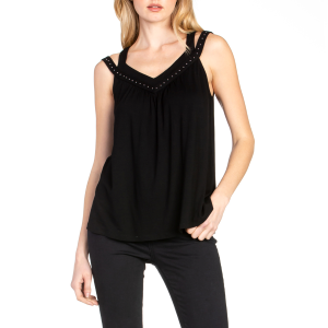 Women's  V-Shaped Studded Double Strap Tank With Back Cut Out