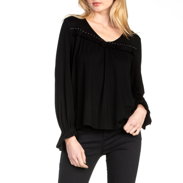V-Neck Dot Point Ruffle Chest Long Sleeve Top