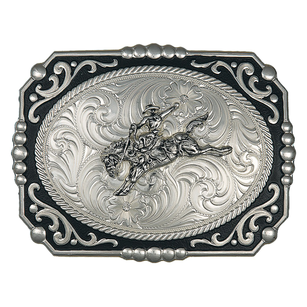 Painted Cowboy Cameo Belt Buckle w/Bronc Rider