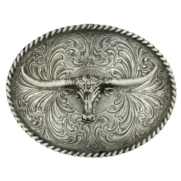 Oval Longhorn Classic Antiqued Attitude Belt Buckle