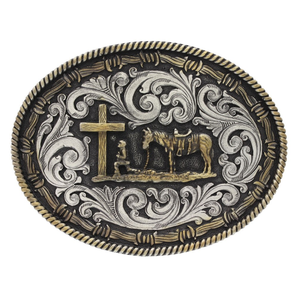 Two Tone Rope & Barbed Wire Classic Impressions Christian Cowboy Attitude Buckle