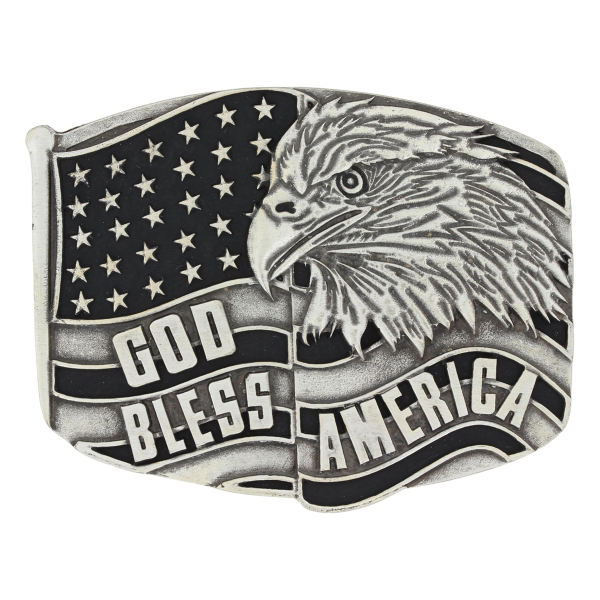 Antiqued Gold Bless America Eagle Attitude Buckle
