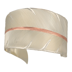 Women's  Two Tone Copper To Fly with Strength and Grace Feather Cuff Bracelet
