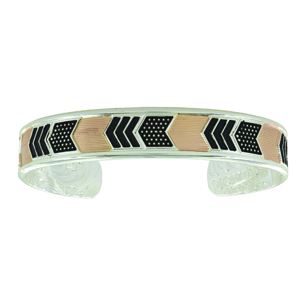 Two Tone Layered Chevrons Cuff Bracelet