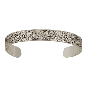 Women's  Antiqued Montana Classic Engraved Narrow Cuff Bracelet