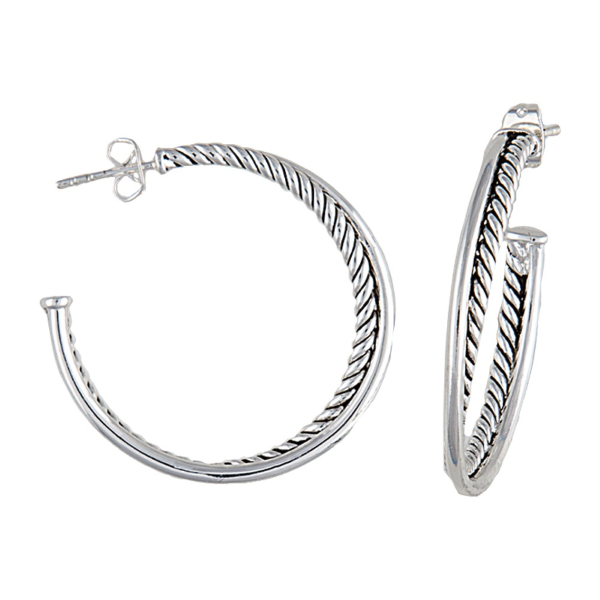 Twisted Rope and Wire Three Quarter Hoop Earrings