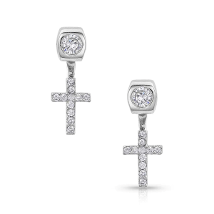 Women's  Star Lights Faith Cross Earrings