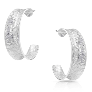 Women's  Glacier Saddle Bend Engraved Hoop Earrings
