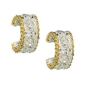 Women's  Crystal Shine in Gold Small Hoop Earrings