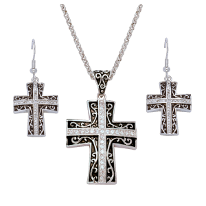 Women's  Rhinestone Cross Set in Antiqued Filigree Jewelry Set
