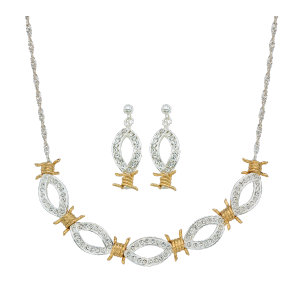 Women's  XOXO Crystal Barbed Wire Jewelry Set