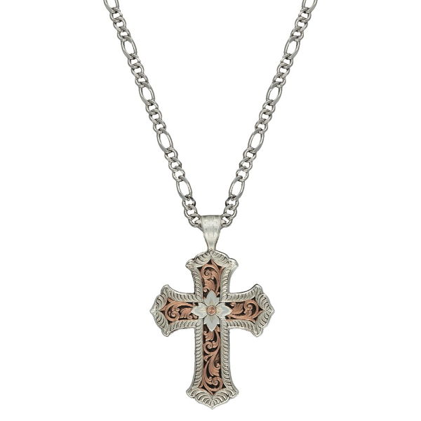Antiqued Rose Gold Scalloped Cross Necklace