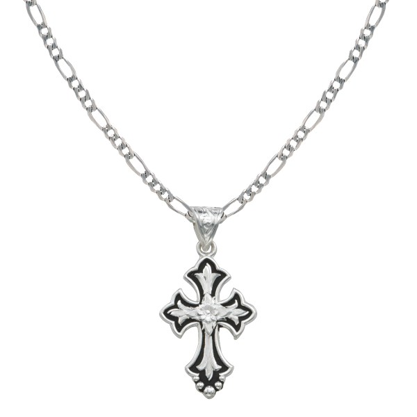 Flower on Silver and Black Cross Fluery Necklace