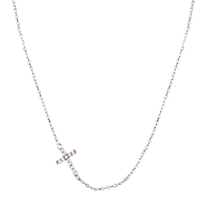 Women's  Quiet Faith, Tiny Crystal Cross Choker Necklace