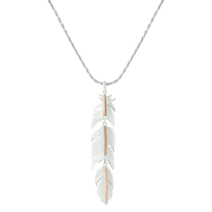 Women's  Rose Gold Plume Feather Necklace