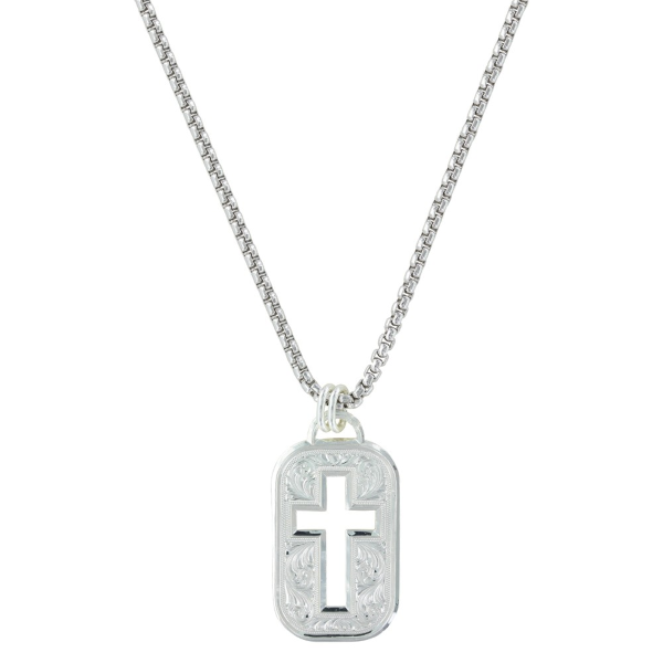 Cross Cut Out Token Necklace