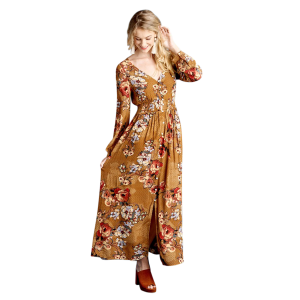 4acecd8524d Women s Long Sleeve Floral Maxi Dress