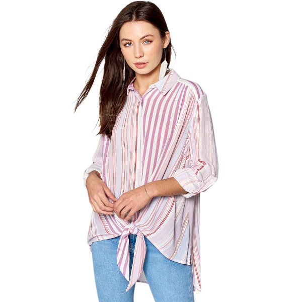Striped Tie Front Button Down Shirt