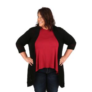 Women s Plus Size 3-Quarter Sleeve Pointelle Cardigan 5b5a83411