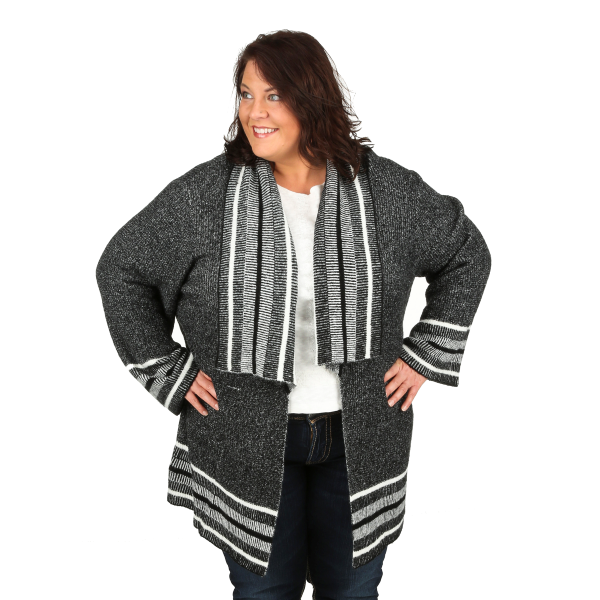 Stripe Trimmed Cardigan