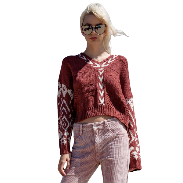 Aztec Design V-Neck Urban Boho Sweater