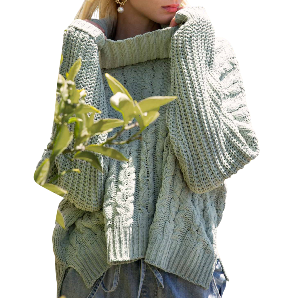 Hi-Low Cable Knit Sweater
