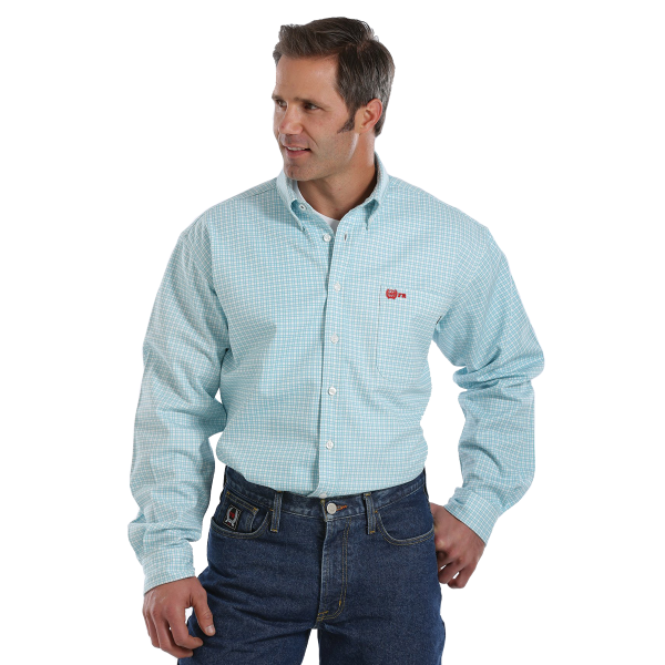 WRX Flame Resistant Turquoise Button Down Shirt