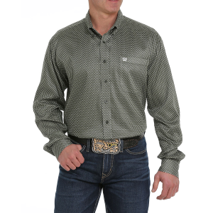 Men's  Olive/Cream Geometric Long Sleeve Button Down Shirt