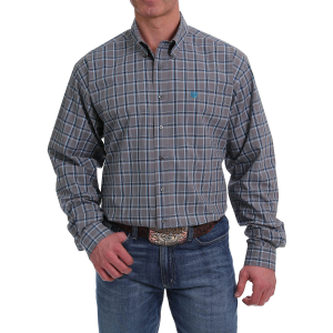 Men's  Gray/Blue Plaid Long Sleeve Button Down Shirt