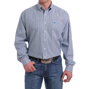 Men's  White/Gray Plaid Long Sleeve Button Down Shirt