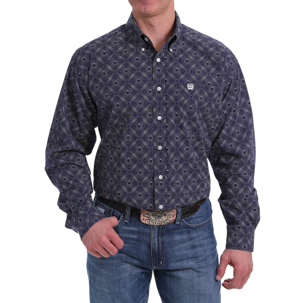 Blue Dot Print Long Sleeve Button Down Shirt