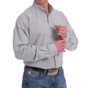Men's  Gray/White Plaid Long Button Down Shirt