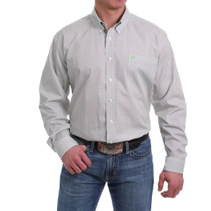 Men's  White/Gray Diamond Print Long Sleeve Button Down Shirt