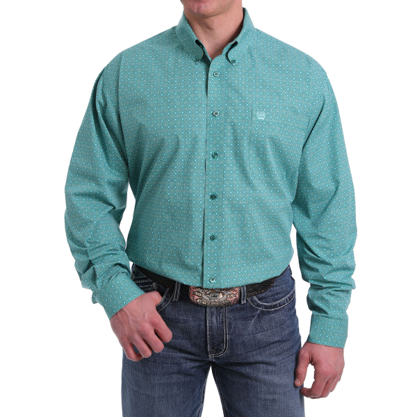 Green Circle and Square Print Long Sleeve Button Down Shirt