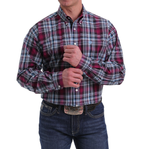 Men's  Burgundy/Black Plaid Long Sleeve Button Down Shirt