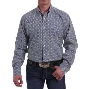 Men's  Blue Square Print Long Sleeve Button Down Shirt