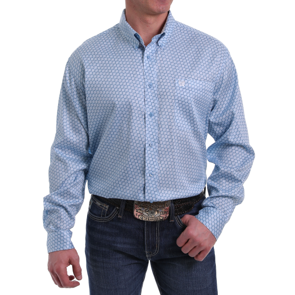 Light Blue/White Print Long Sleeve Button Down Shirt