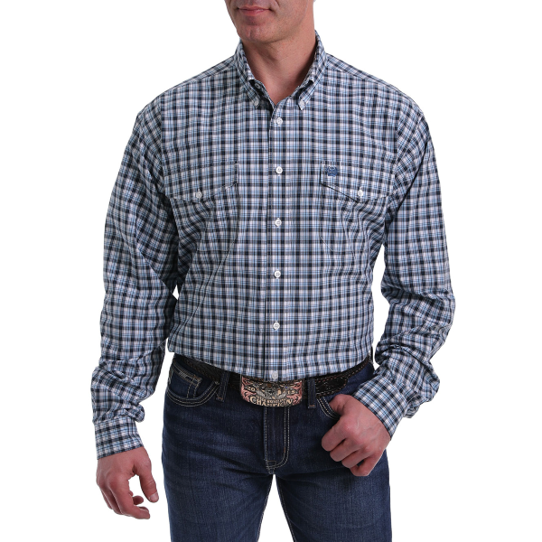 Black/Light Blue Plaid Long Sleeve Button Down Shirt