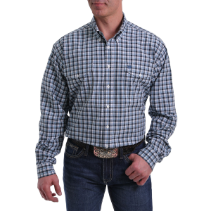 Men's  Black/Light Blue Plaid Long Sleeve Button Down Shirt