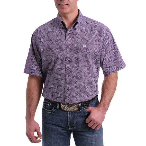 Purple Dot Diamond Short Sleeve Button Down Shirt