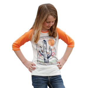 Girls'  Cactus  Print 3-Quarter Sleeve Tee
