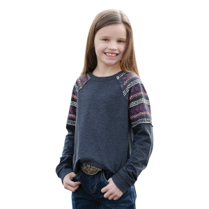 Girls'  Navy Print Raglan Shirt