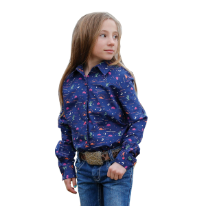 Girls'  Desert Print Long Sleeve Snap Shirt