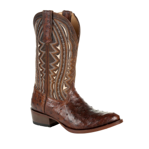 Men's  Premium Exotic Full-Quill Ostrich Oiled Saddle Western Boot