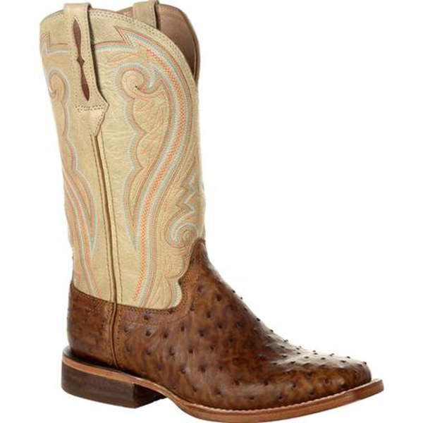 Premium Exotics Full-Quill Ostrich Sunset Wheat Western Boot