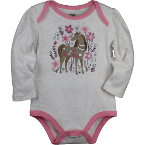 Girls'  Infant Long Sleeve Horse Garden Bodysuit
