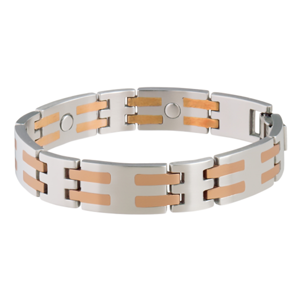 Stainless Steel and Copper Bar Magnetic Bracelet